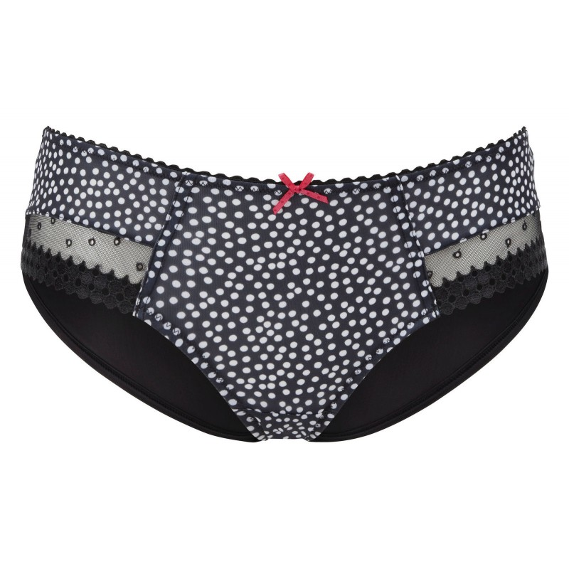 """Cleo by Panache /""""Minnie/"""" Thong in Black//White Spot"""