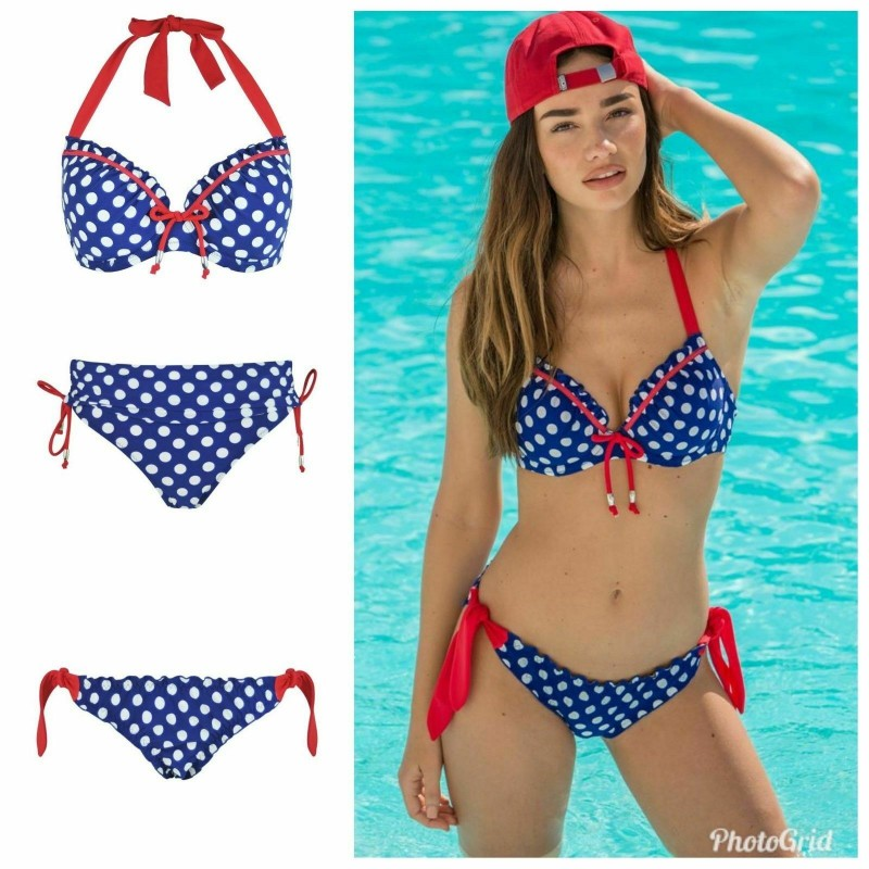 5bc7c52b3e Pour Moi Starboard Navy/Red Halter Padded Bikini Top or Tie Side or Fold  Brief