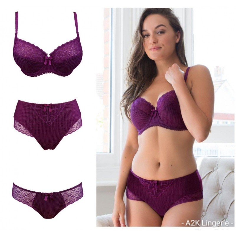 63134d954d23 Pour Moi Electra Mulberry Side Support Bra, High Waist Brief or Brief